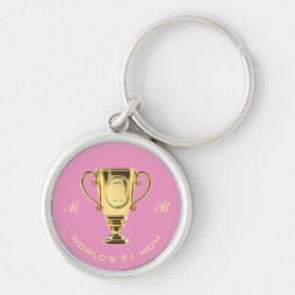World's number one mum monogram key ring