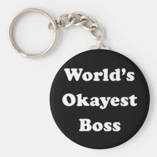 World's Okayest Boss Humorous Work Gift Funny Fun Key Ring