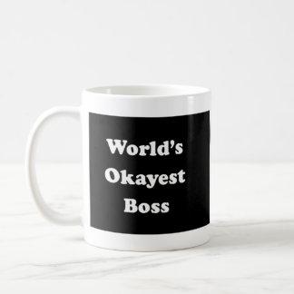 World's Okayest Boss Humorous Work Gift Funny Fun Basic White Mug