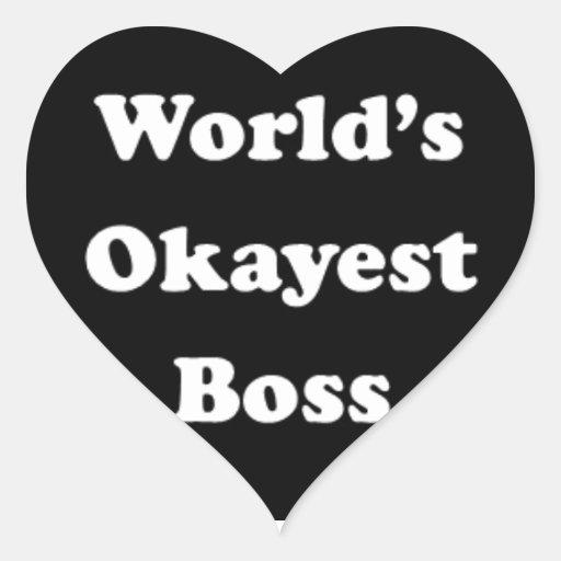 World's Okayest Boss Humorous Work Gift Funny Fun Stickers