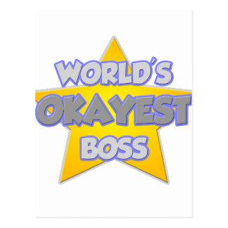 World's Okayest Boss .. Joke Post Card