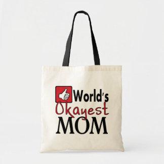 World's okayest mom reusable funny grocery bag