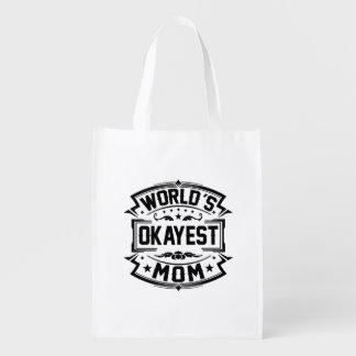 World's Okayest Mom Reusable Grocery Bag