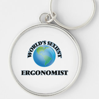 World's Sexiest Ergonomist Silver-Colored Round Key Ring
