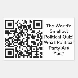 Worlds Smallest Political Quiz Rectangular Sticker