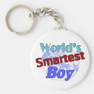 World's Smartest Boy Basic Round Button Key Ring