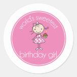 Worlds sweetest birthday girl round stickers
