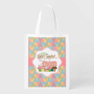 World's Sweetest Mom Cupcake Edition Pattern Reusable Grocery Bag