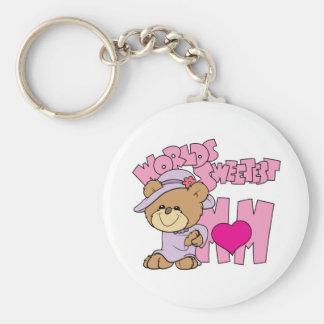 worlds sweetest mom teddy bear design key ring