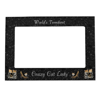 World's Trendiest Crazy Cat Lady Picture Frame Photo Frame Magnets