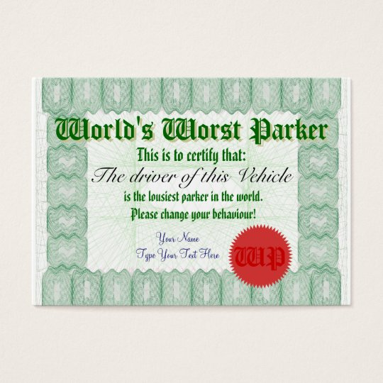 World S Worst Parker Bad Parking Award Certificate