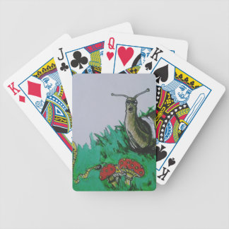 worm and snail art bicycle playing cards