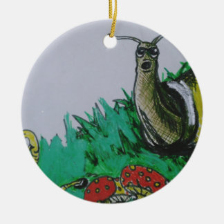 worm and snail art ceramic ornament