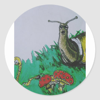 worm and snail art classic round sticker