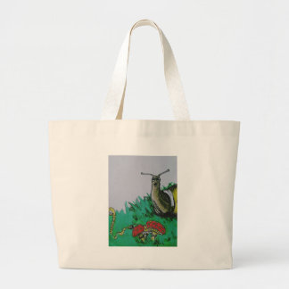 worm and snail art large tote bag