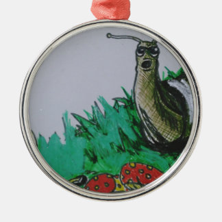 worm and snail art metal ornament