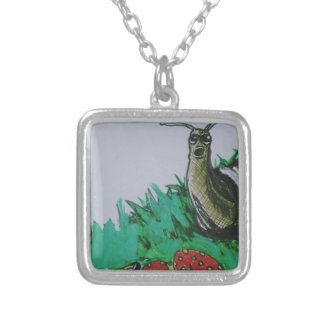 worm and snail art silver plated necklace