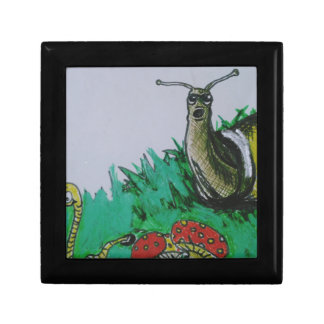 worm and snail art small square gift box