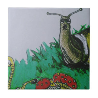 worm and snail art small square tile