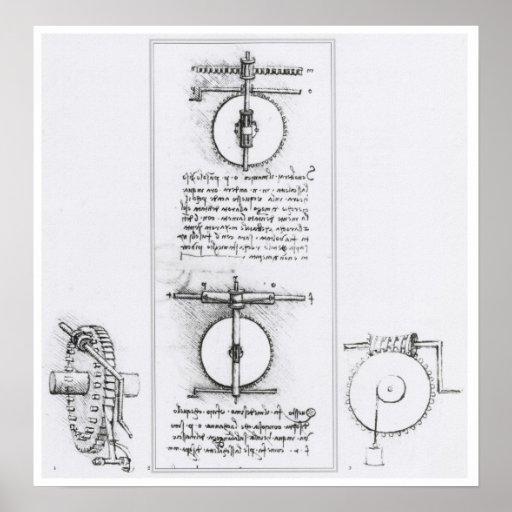 Worm Gear Invention by Leonardo da Vinci Posters