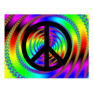 Worm Hole with Black Peace Sign Postcard