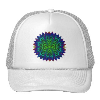 Wormhole Fractal Neon Green Space Tubes Trucker Hat