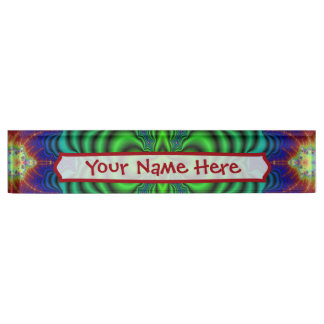 Wormhole Fractal Neon Green Space Tubes Name Plate