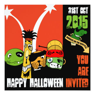 Worms and Dirty Ghosts Halloween Invitation Card