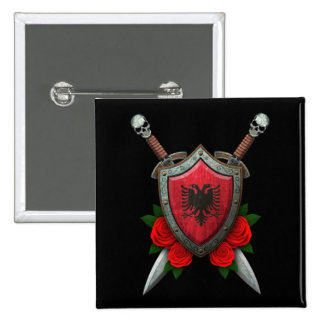 Worn Albanian Flag Shield and Swords with Roses Pins