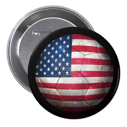 Worn American Flag Football Soccer Ball Pinback Button
