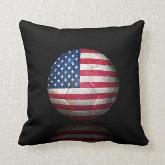 Worn American Flag Football Soccer Ball Throw Pillows
