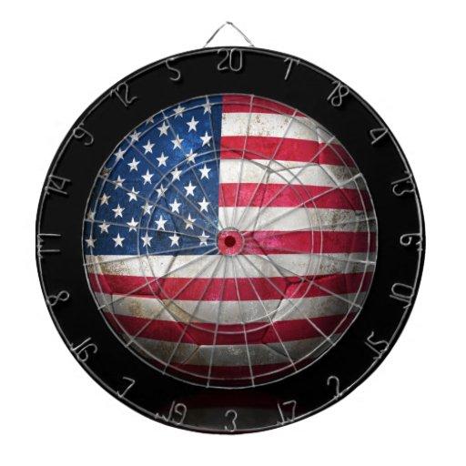 Worn American Flag Football Soccer Ball Dartboard With Darts