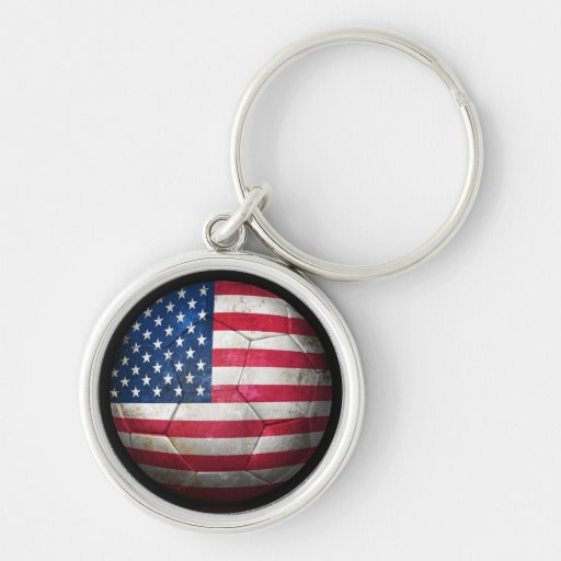 Worn American Flag Football Soccer Ball Key Chain