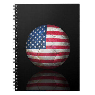 Worn American Flag Football Soccer Ball Notebooks