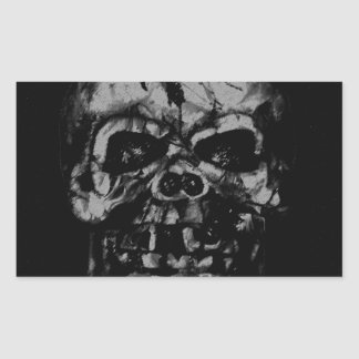 Worn and Damaged Skull Rectangular Sticker