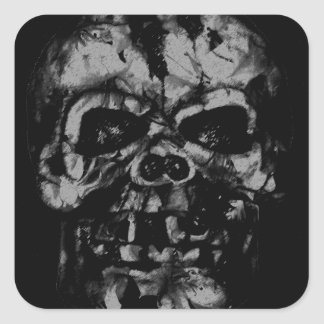Worn and Damaged Skull Square Sticker