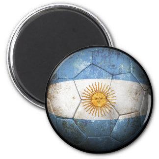 Worn Argentinian Flag Football Soccer Ball Refrigerator Magnet
