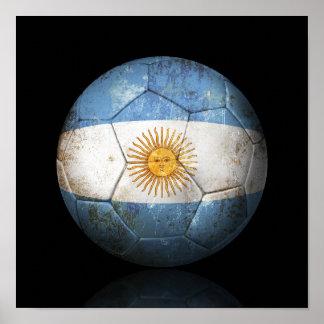 Worn Argentinian Flag Football Soccer Ball Poster