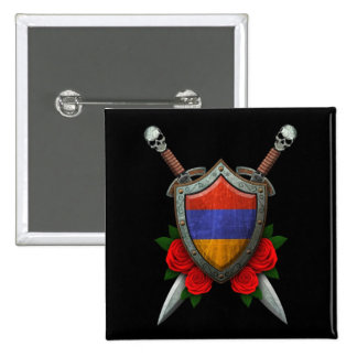 Worn Armenian Flag Shield and Swords with Roses Buttons