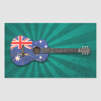Worn Australian Flag Acoustic Guitar, teal Stickers