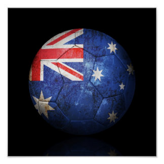 Worn Australian Flag Football Soccer Ball Print