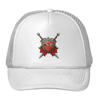 Worn Bermuda Flag Shield and Swords with Roses Trucker Hats