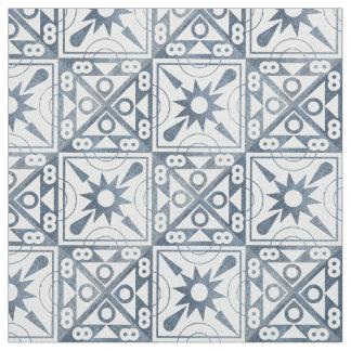 'Worn' Blue and White Geometric Fabric