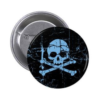 Worn Blue Skull and Crossbones 6 Cm Round Badge