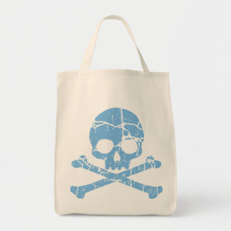 Worn Blue Skull and Crossbones Grocery Tote Bag
