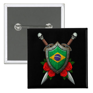 Worn Brazilian Flag Shield and Swords with Roses Pin