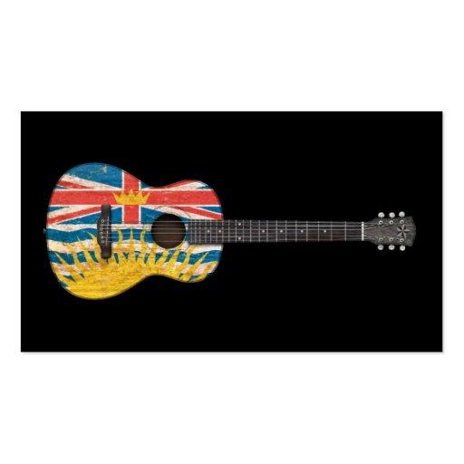 Worn British Columbia Flag Acoustic Guitar, black Business Card