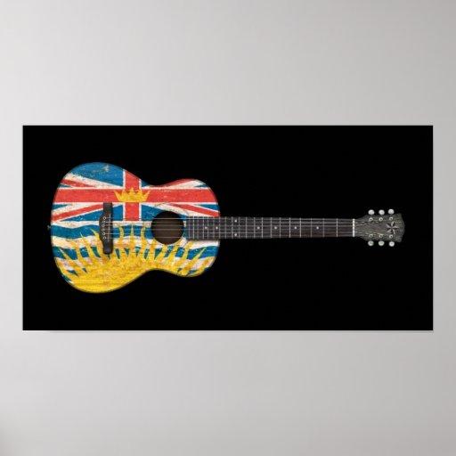 Worn British Columbia Flag Acoustic Guitar, black Print