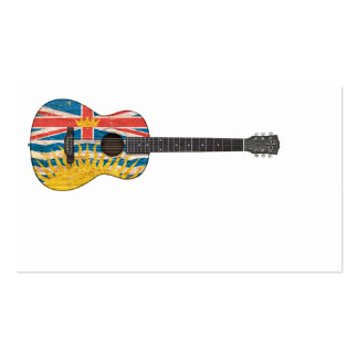 Worn British Columbia Flag Acoustic Guitar Business Card Template