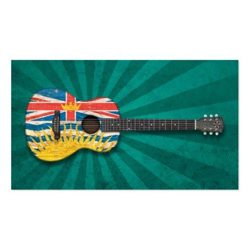 Worn British Columbia Flag Acoustic Guitar, teal Business Card